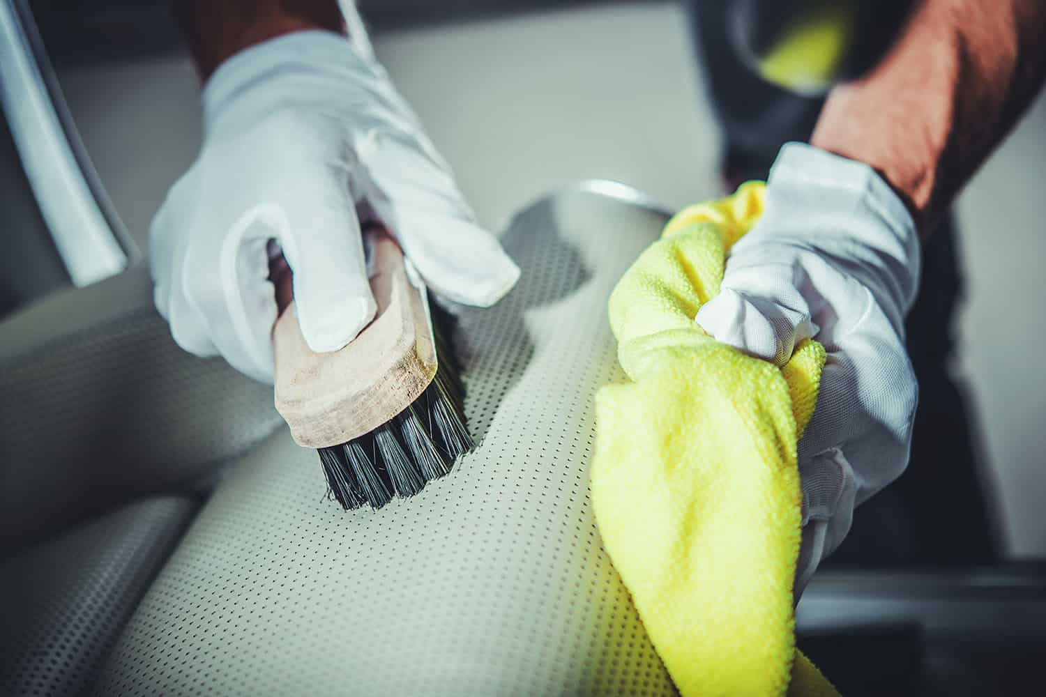 Leather Car Seats Cleaning By Brushing